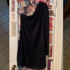 EXPRESS Black Lace One Shoulder Dress NWOT